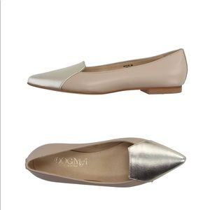 New Dogma gold nude leather ballet flats shoes 9